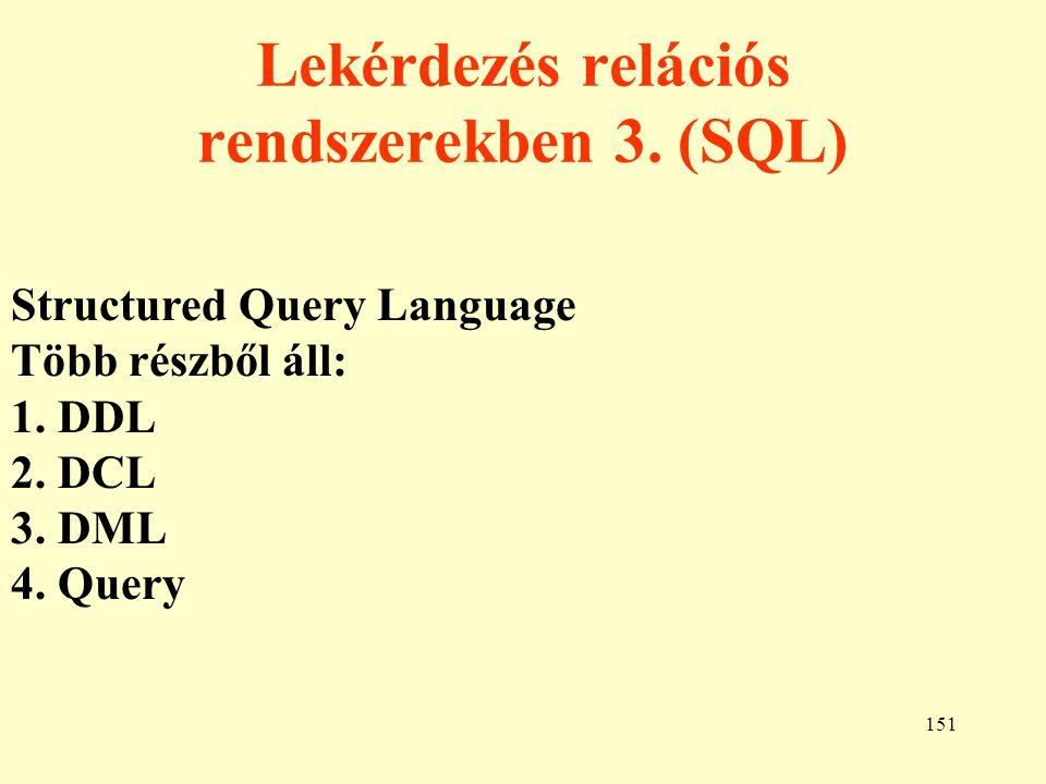 Lekérdezés relációs rendszerekben 3. (SQL)