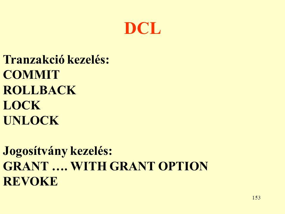 DCL Tranzakció kezelés: COMMIT ROLLBACK LOCK UNLOCK