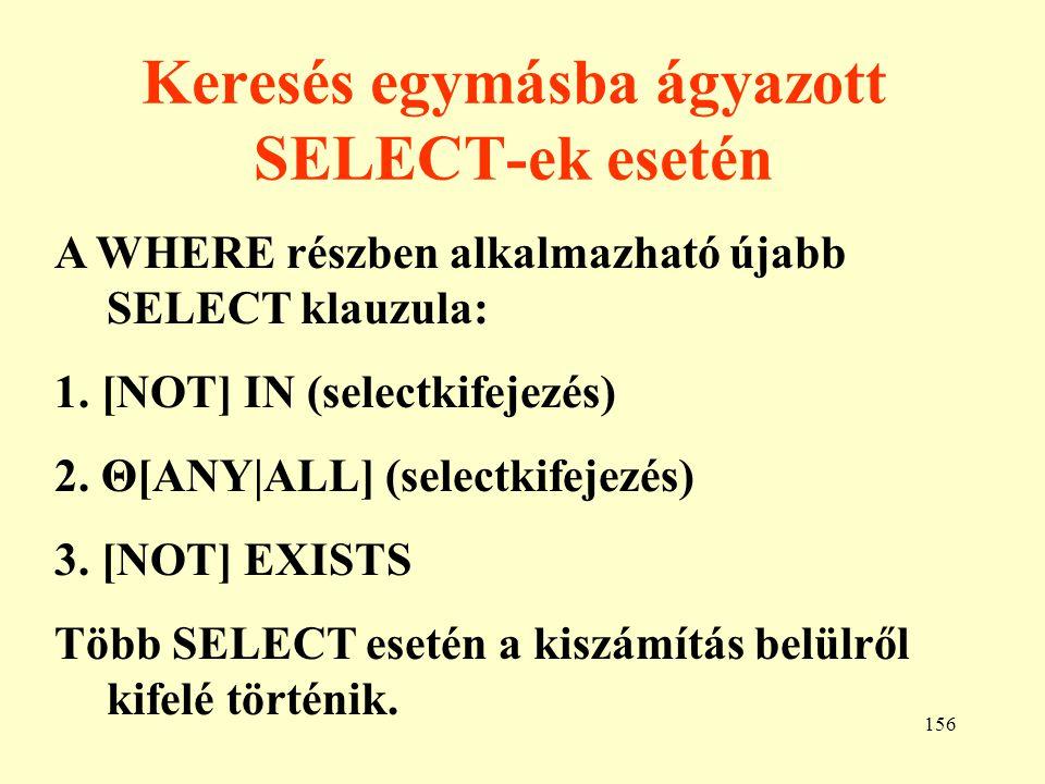 Keresés egymásba ágyazott SELECT-ek esetén