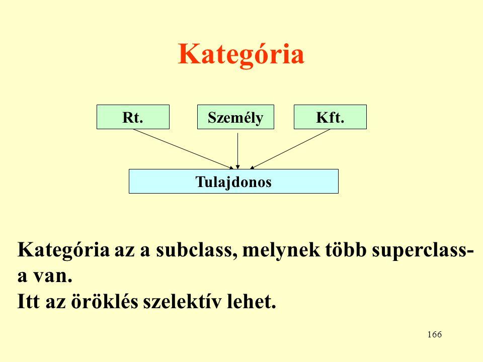 Kategória Kategória az a subclass, melynek több superclass-a van.