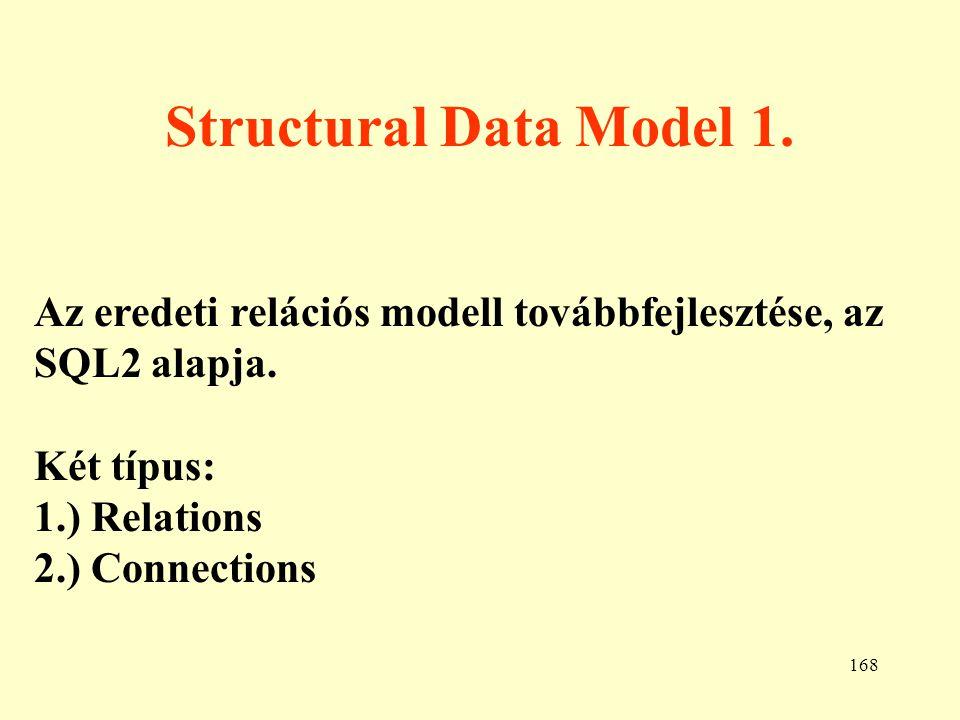 Structural Data Model 1. Az eredeti relációs modell továbbfejlesztése, az SQL2 alapja. Két típus: 1.) Relations.
