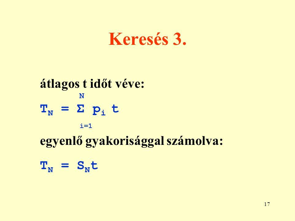 Keresés 3. átlagos t időt véve: TN = Σ pi t i=1