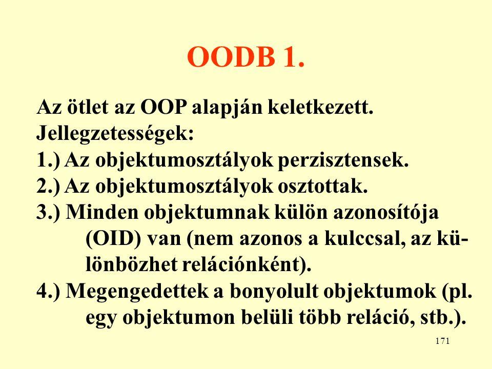 OODB 1. Az ötlet az OOP alapján keletkezett. Jellegzetességek: