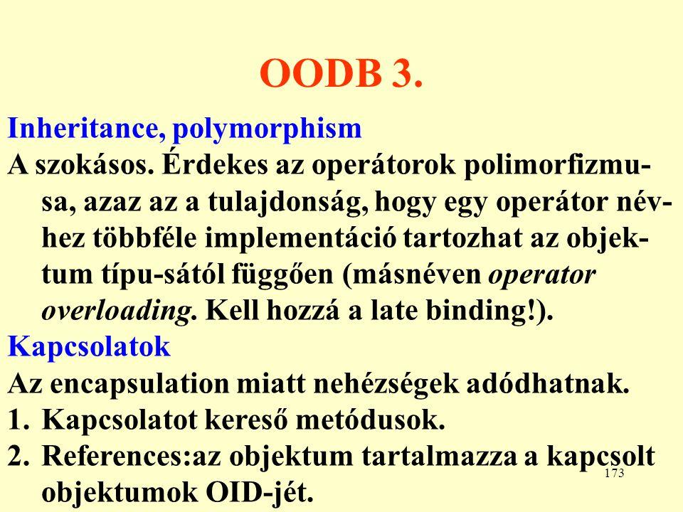 OODB 3. Inheritance, polymorphism