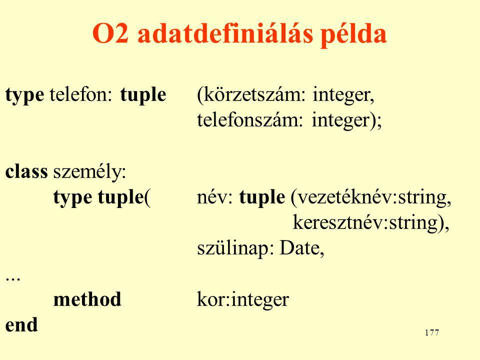 O2 adatdefiniálás példa
