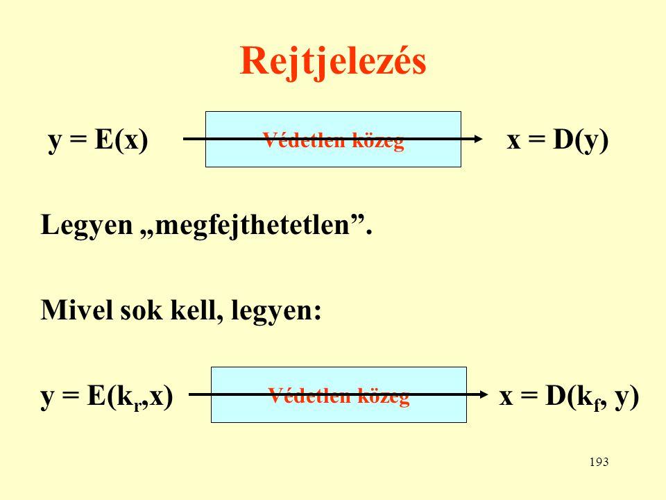 """Rejtjelezés y = E(x) x = D(y) Legyen """"megfejthetetlen ."""