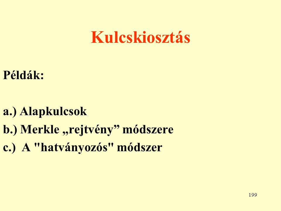 """Kulcskiosztás Példák: a.) Alapkulcsok b.) Merkle """"rejtvény módszere"""