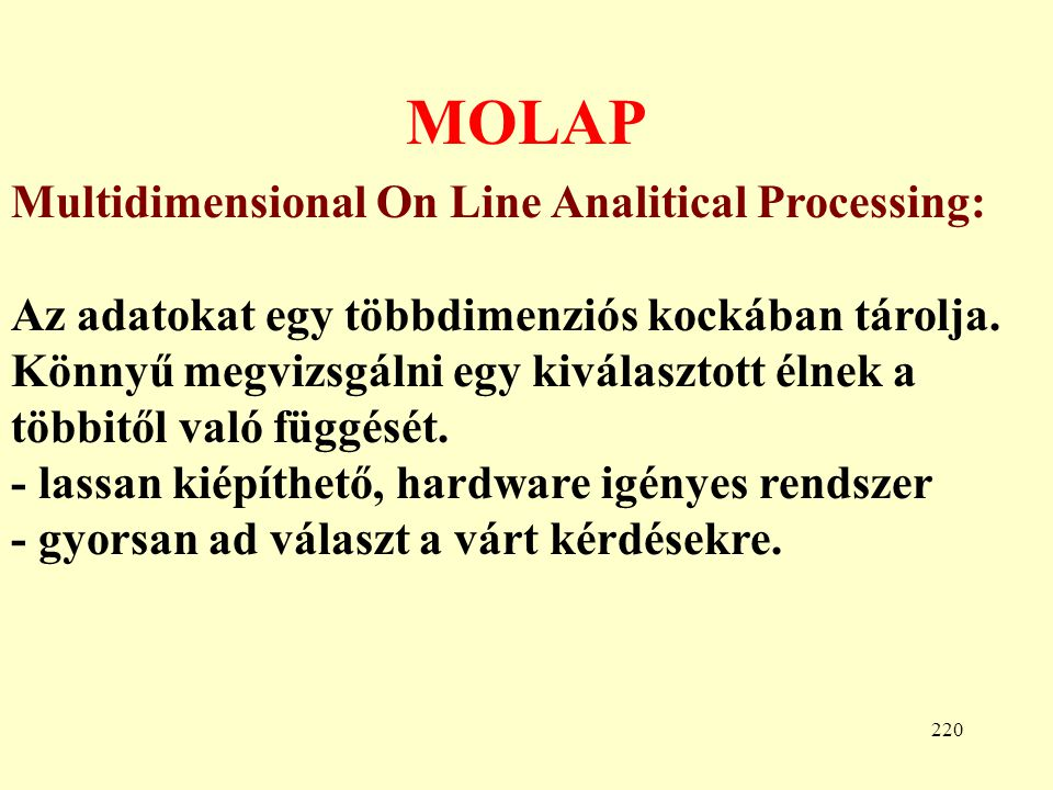 MOLAP Multidimensional On Line Analitical Processing: