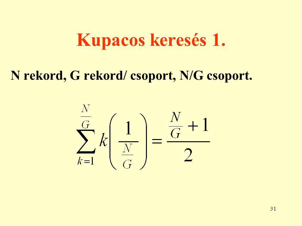 Kupacos keresés 1. N rekord, G rekord/ csoport, N/G csoport.