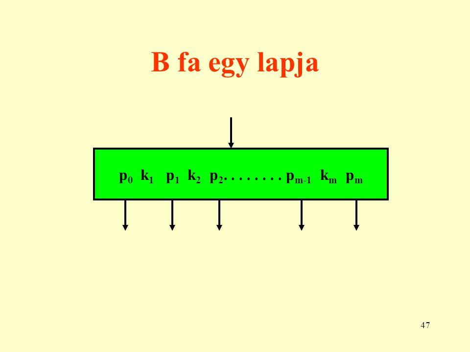 B fa egy lapja p0 k1 p1 k2 p2. . . . . . . . pm-1 km pm