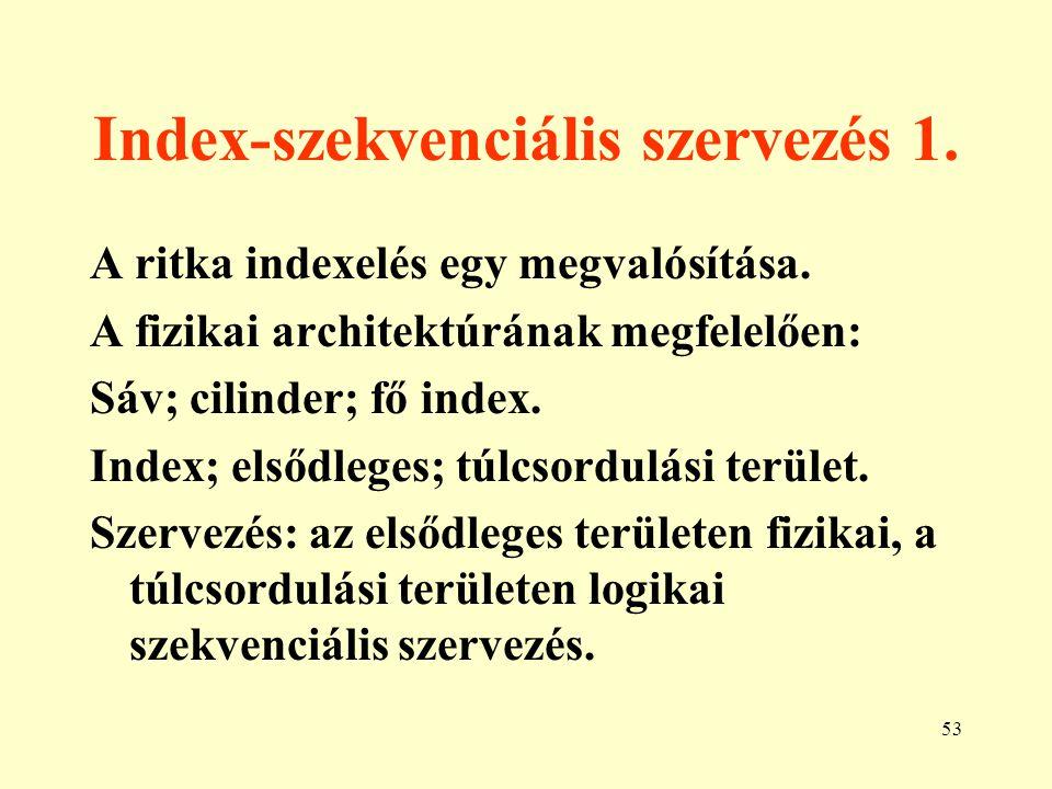 Index-szekvenciális szervezés 1.