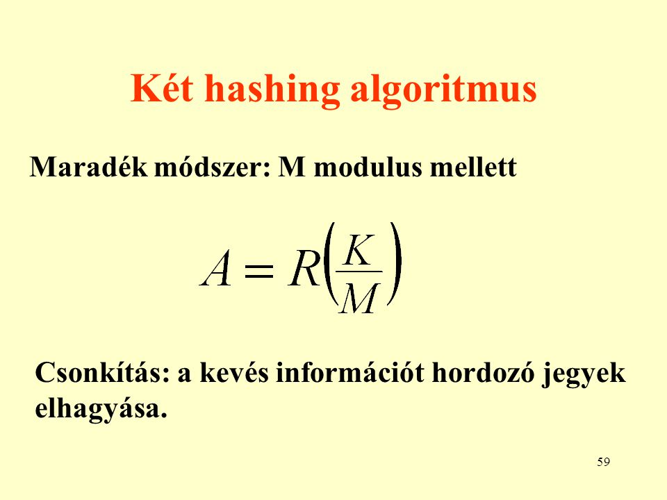 Két hashing algoritmus