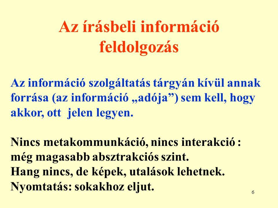 Az írásbeli információ feldolgozás