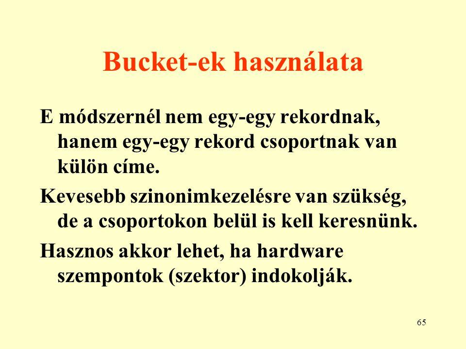 Bucket-ek használata E módszernél nem egy-egy rekordnak, hanem egy-egy rekord csoportnak van külön címe.