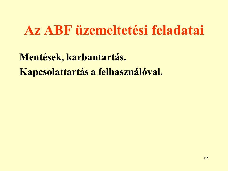 Az ABF üzemeltetési feladatai