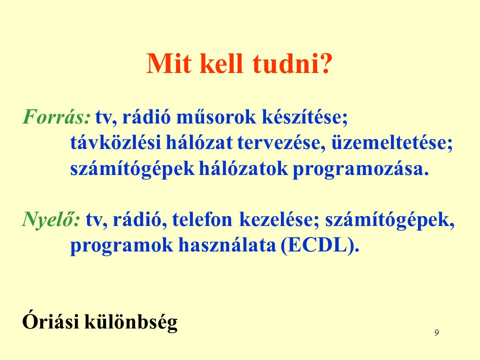 Mit kell tudni Forrás: tv, rádió műsorok készítése;