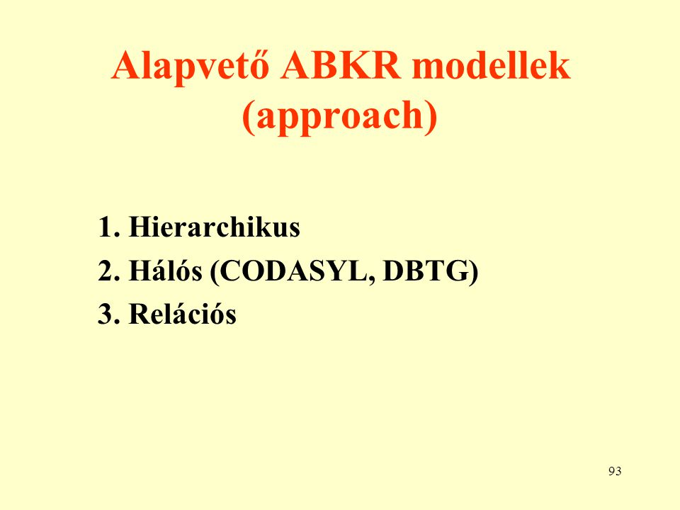 Alapvető ABKR modellek (approach)