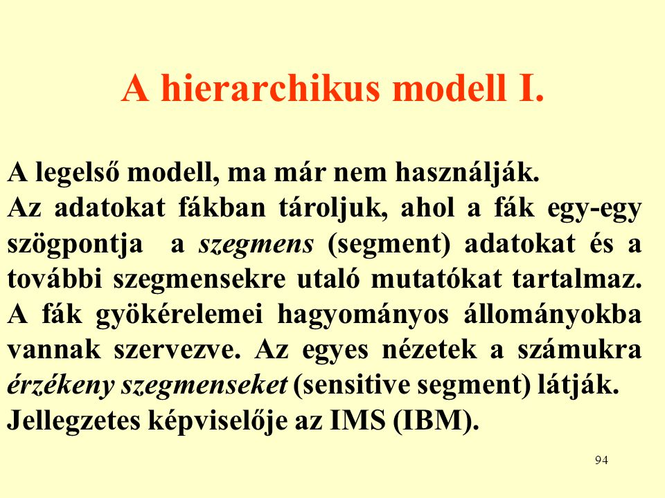 A hierarchikus modell I.