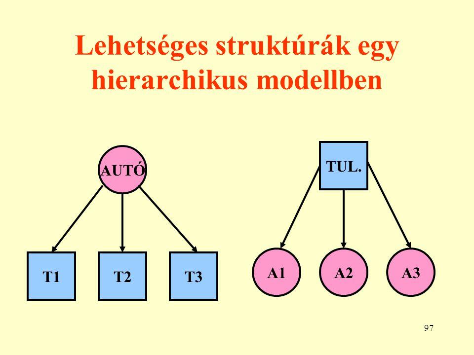 Lehetséges struktúrák egy hierarchikus modellben