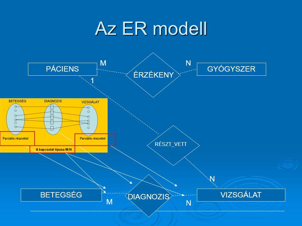 Az ER modell ÉRZÉKENY M N PÁCIENS GYÓGYSZER BETEGSÉG VIZSGÁLAT 1 N