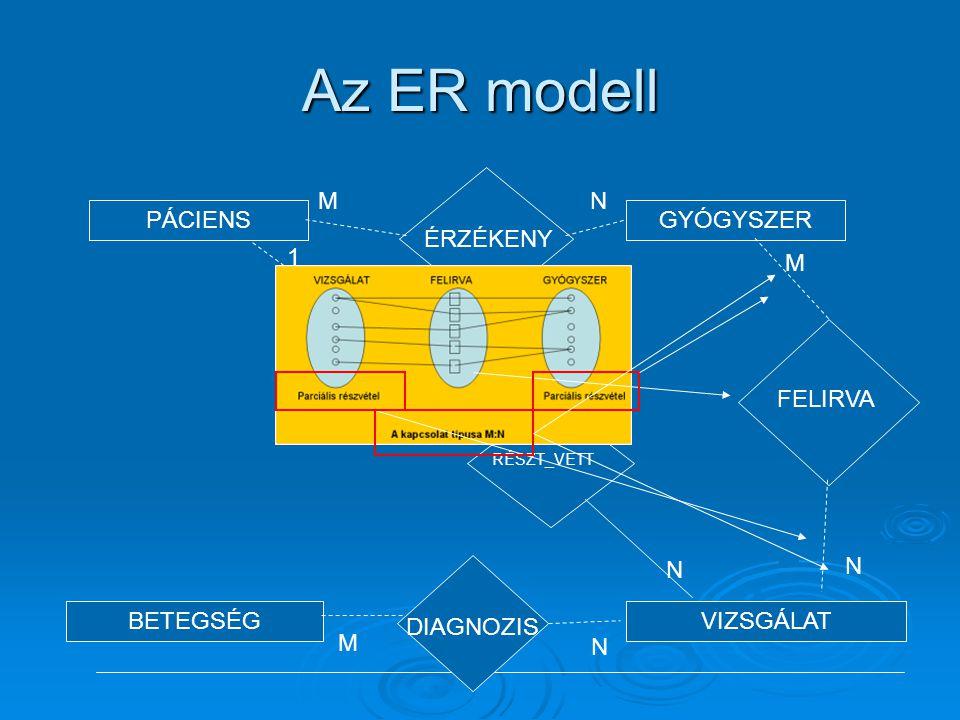 Az ER modell ÉRZÉKENY M N PÁCIENS GYÓGYSZER BETEGSÉG VIZSGÁLAT 1 M