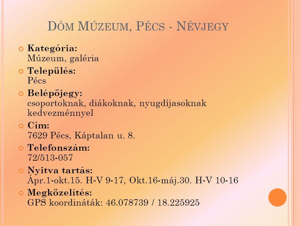 Dóm Múzeum, Pécs - Névjegy