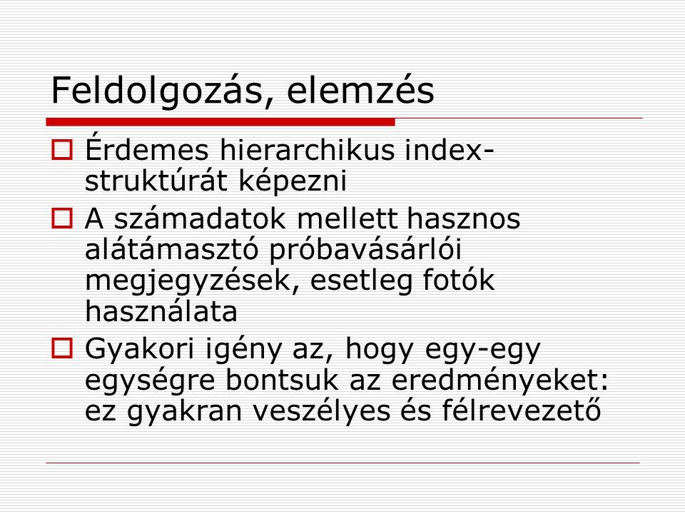 Feldolgozás, elemzés Érdemes hierarchikus index-struktúrát képezni
