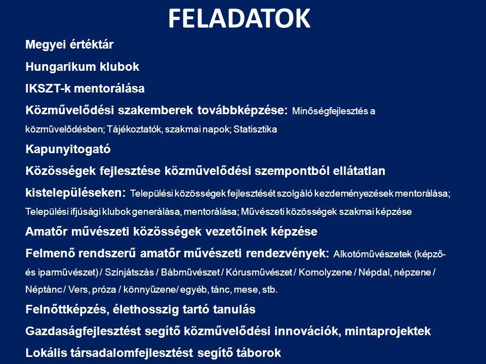 FELADATOK Megyei értéktár Hungarikum klubok IKSZT-k mentorálása