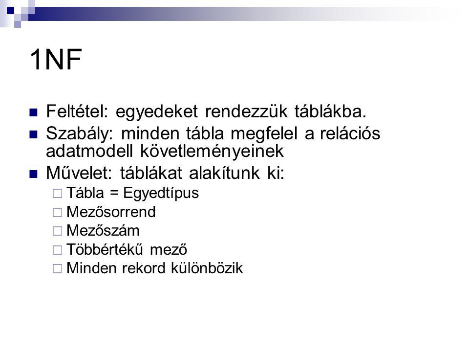 1NF Feltétel: egyedeket rendezzük táblákba.