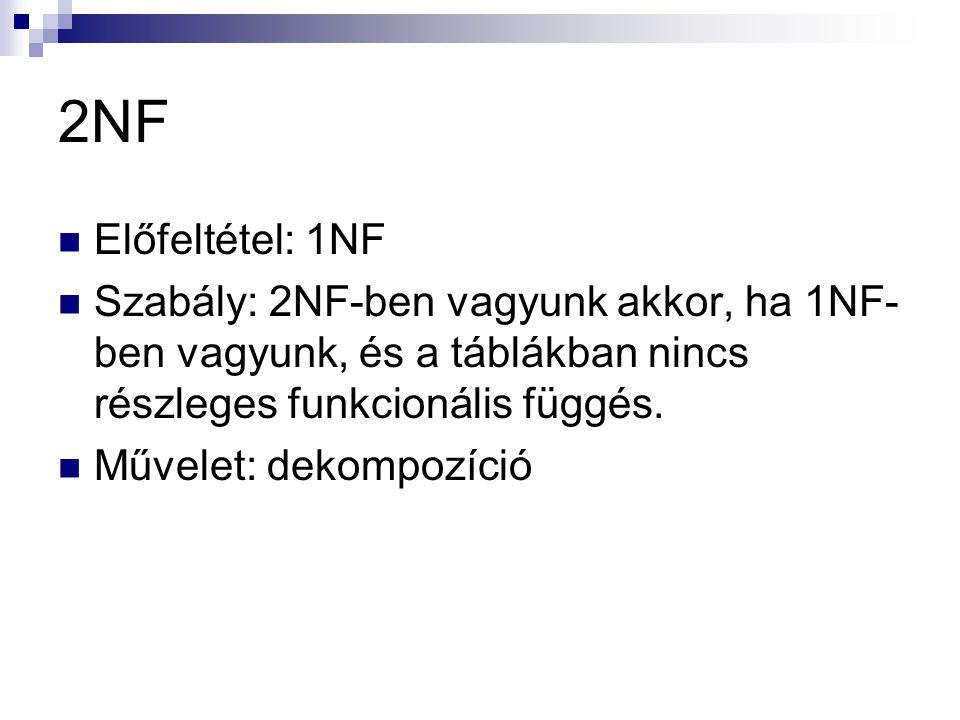 2NF Előfeltétel: 1NF. Szabály: 2NF-ben vagyunk akkor, ha 1NF-ben vagyunk, és a táblákban nincs részleges funkcionális függés.