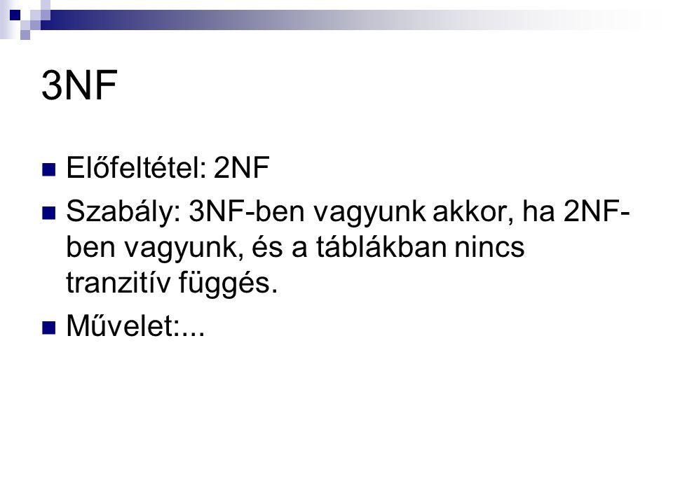 3NF Előfeltétel: 2NF. Szabály: 3NF-ben vagyunk akkor, ha 2NF-ben vagyunk, és a táblákban nincs tranzitív függés.