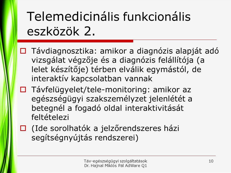 Telemedicinális funkcionális eszközök 2.