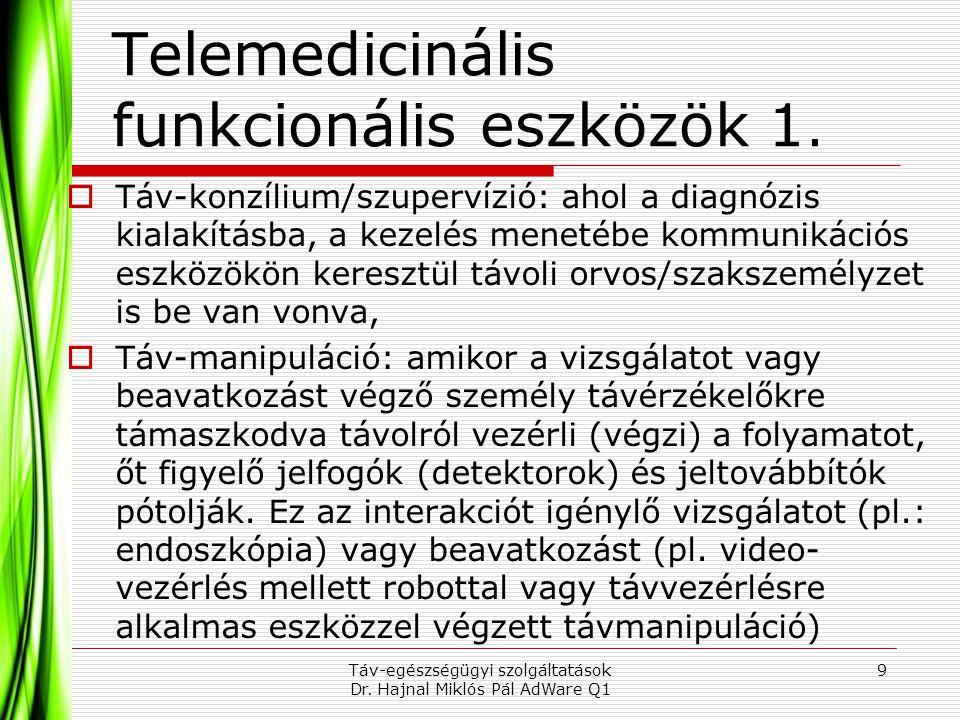 Telemedicinális funkcionális eszközök 1.