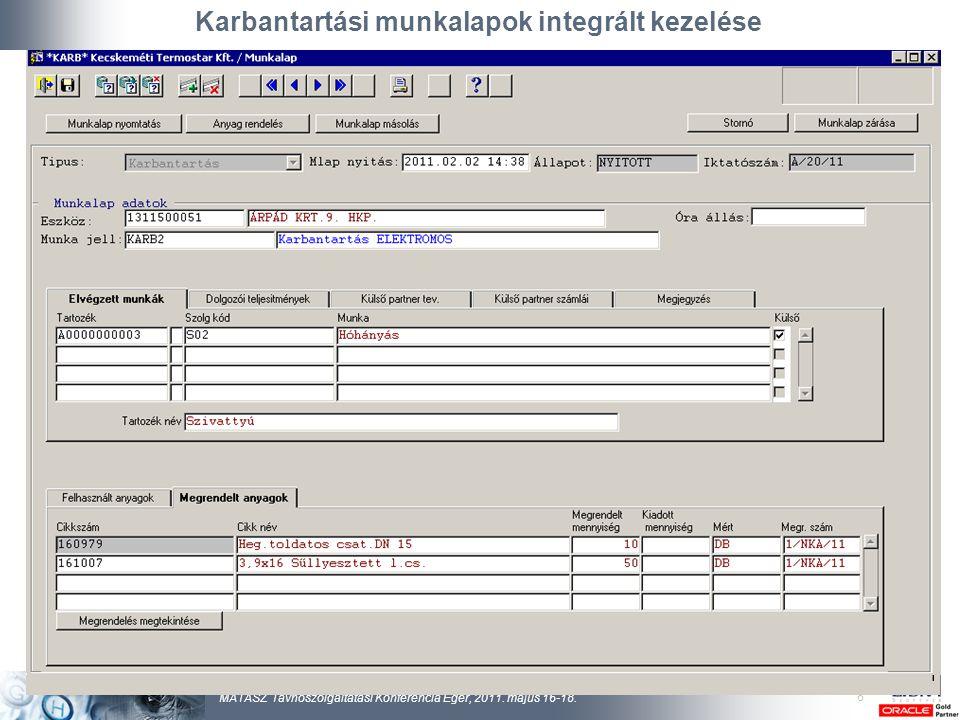 Karbantartási munkalapok integrált kezelése