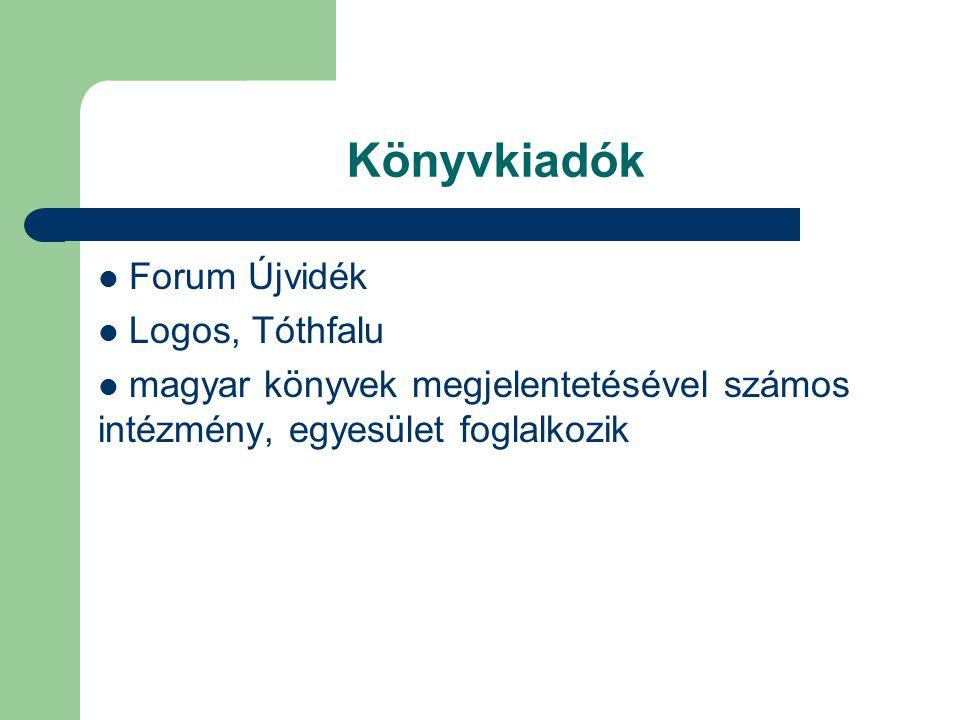 Könyvkiadók Forum Újvidék Logos, Tóthfalu