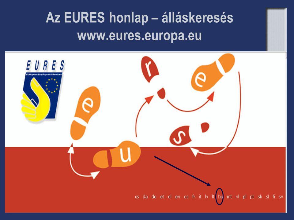 Az EURES honlap – álláskeresés www.eures.europa.eu
