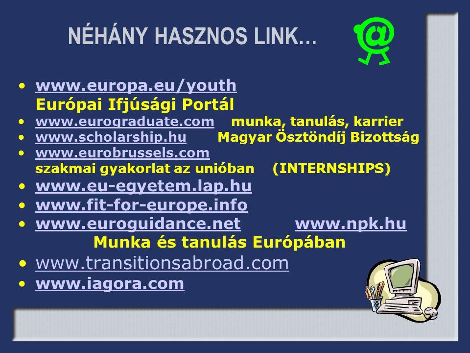 NÉHÁNY HASZNOS LINK… www.transitionsabroad.com www.europa.eu/youth