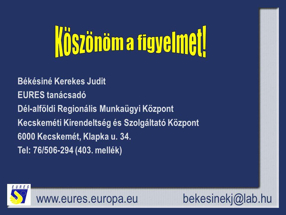 Köszönöm a figyelmet! www.eures.europa.eu bekesinekj@lab.hu