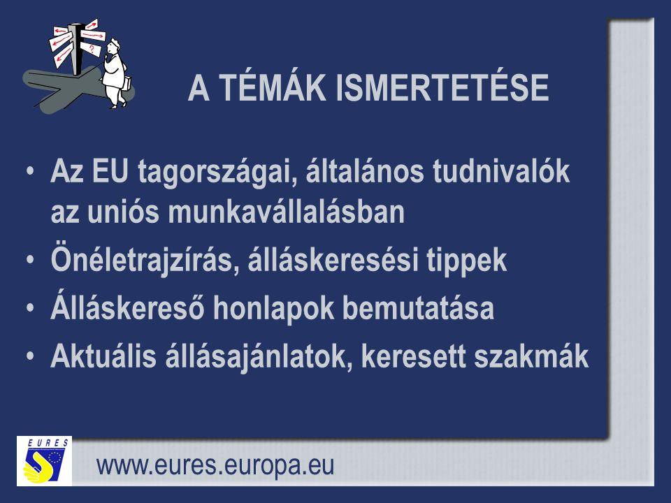 A TÉMÁK ISMERTETÉSE Az EU tagországai, általános tudnivalók az uniós munkavállalásban. Önéletrajzírás, álláskeresési tippek.