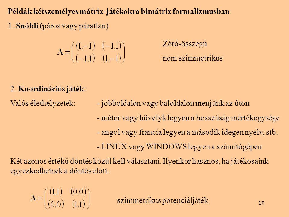 Példák kétszemélyes mátrix-játékokra bimátrix formalizmusban