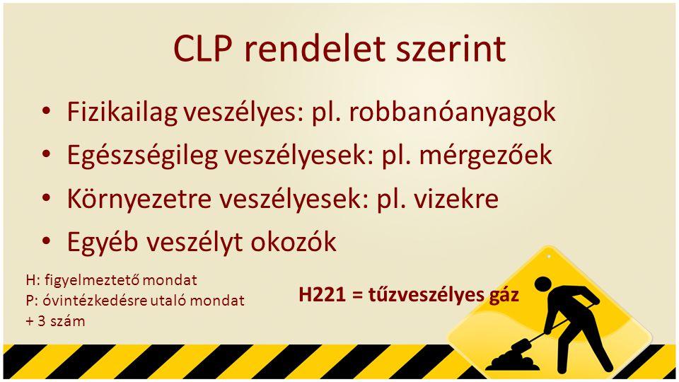 CLP rendelet szerint Fizikailag veszélyes: pl. robbanóanyagok