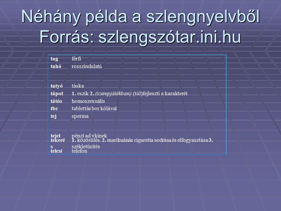 Néhány példa a szlengnyelvből Forrás: szlengszótar.ini.hu