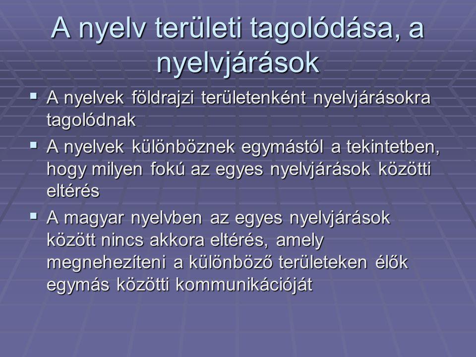 A nyelv területi tagolódása, a nyelvjárások