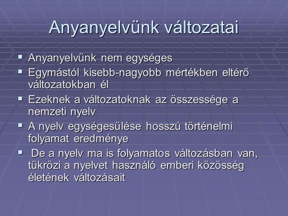Anyanyelvünk változatai