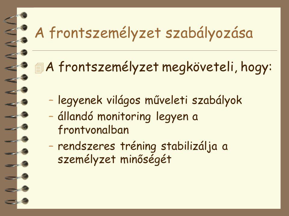 A frontszemélyzet szabályozása