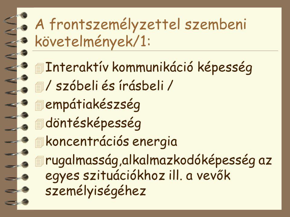 A frontszemélyzettel szembeni követelmények/1: