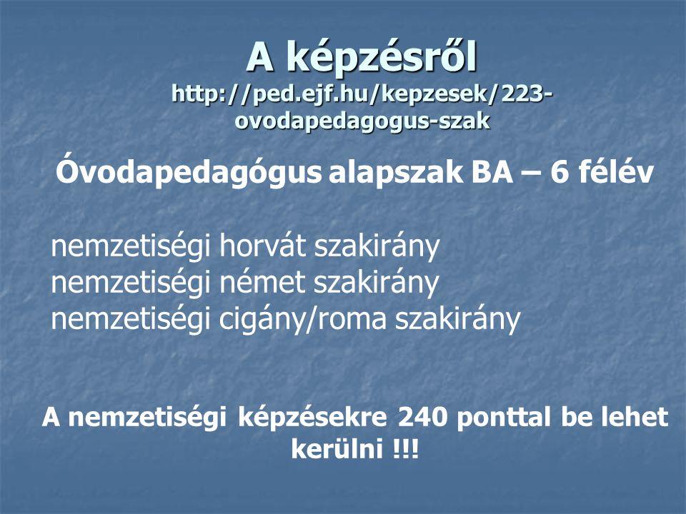 A képzésről http://ped.ejf.hu/kepzesek/223-ovodapedagogus-szak