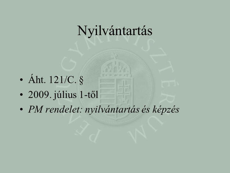 Nyilvántartás Áht. 121/C. § 2009. július 1-től