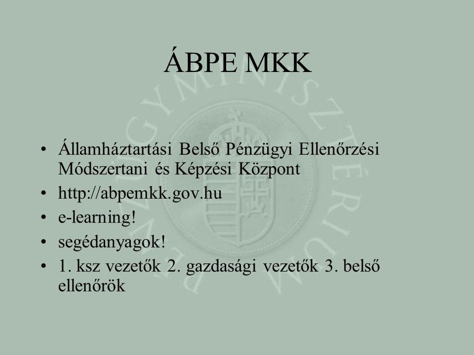 ÁBPE MKK Államháztartási Belső Pénzügyi Ellenőrzési Módszertani és Képzési Központ. http://abpemkk.gov.hu.