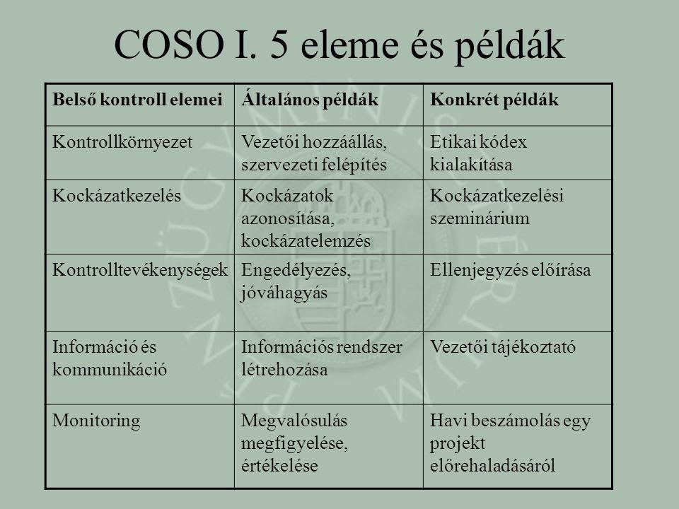 COSO I. 5 eleme és példák Belső kontroll elemei Általános példák